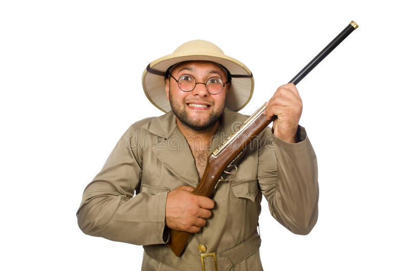 Download Κυνηγός σαφάρι που απομονώνεται στο λευκό Στοκ Εικόνες - εικόνα από αναζήτηση, το: 62707718