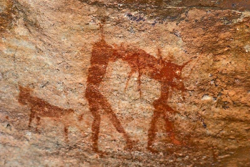 κυνηγώντας άτομο το προϊστορικό s σπηλιών κατοίκων του δάσους τέχνης διανυσματική απεικόνιση