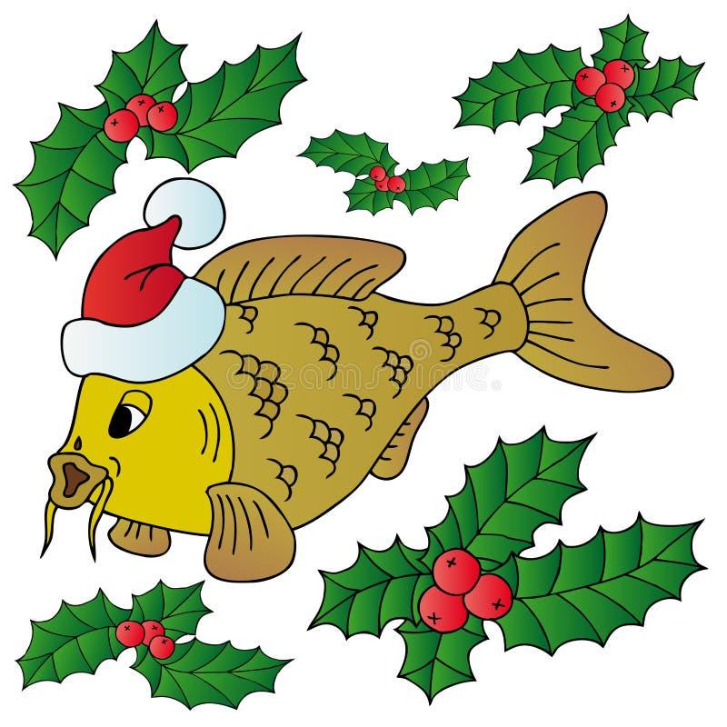 Κυπρίνος με τα Χριστούγεννα ΚΑΠ ελεύθερη απεικόνιση δικαιώματος