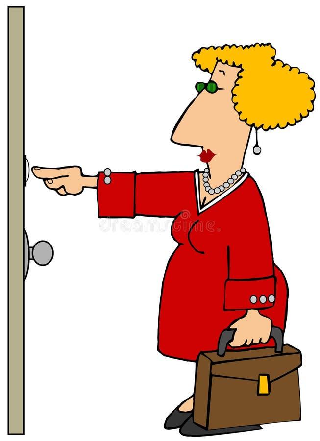 Κυρία από σπίτι σε σπίτι πωλήσεων απεικόνιση αποθεμάτων
