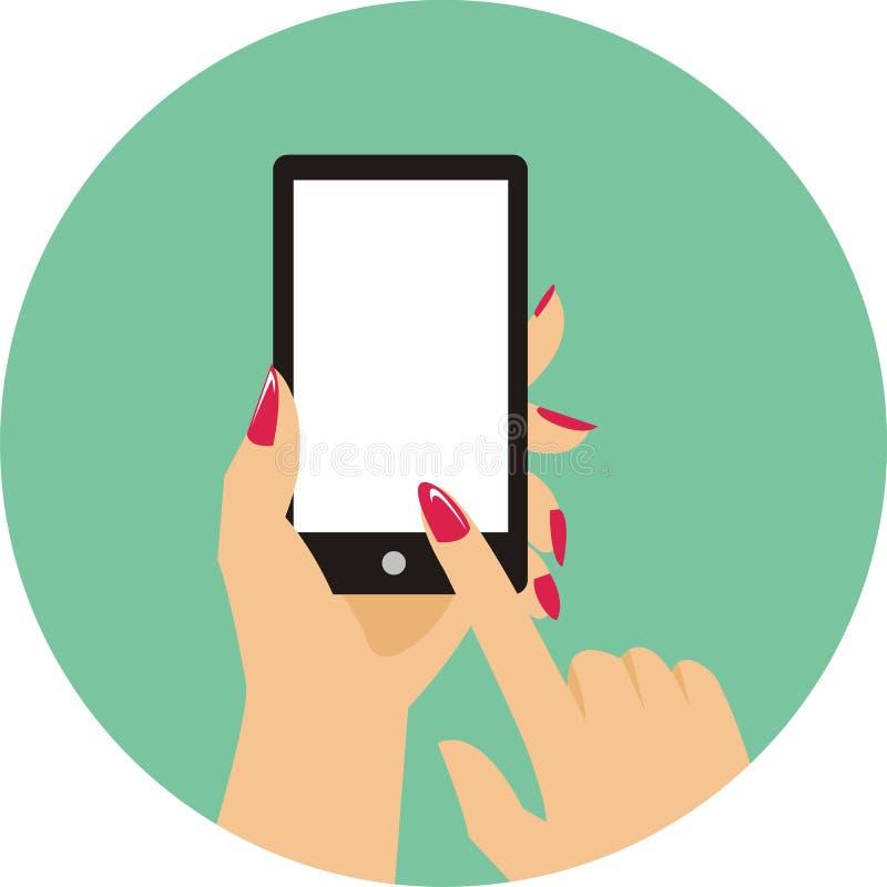 Κυρία δάχτυλων που πιέζει το κουμπί handphone απεικόνιση αποθεμάτων
