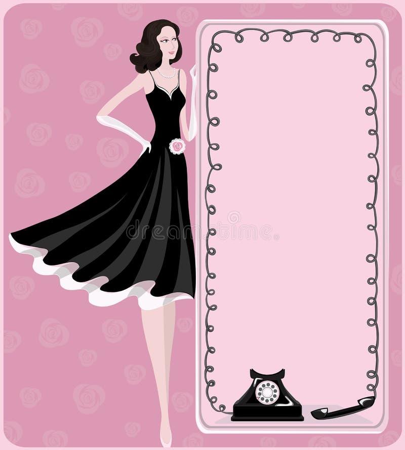 Κυρία και αναδρομικό τηλέφωνο διανυσματική απεικόνιση