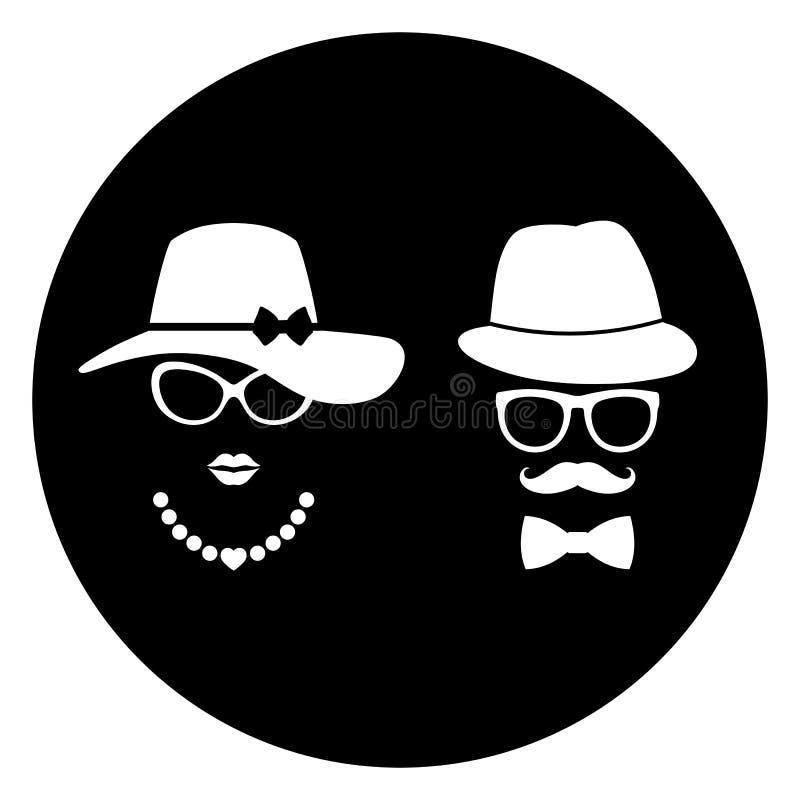 Κυρία και κύριος με το σύμβολο γυαλιών και καπέλο στο μαύρο υπόβαθρο απεικόνιση αποθεμάτων