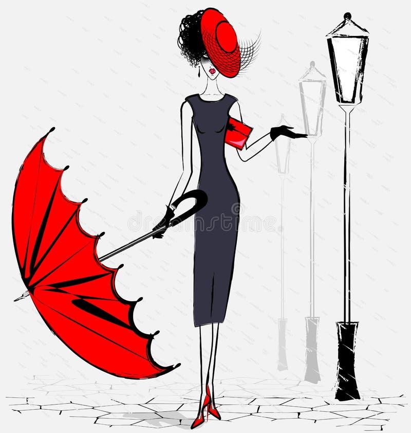 Κυρία με την ομπρέλα απεικόνιση αποθεμάτων