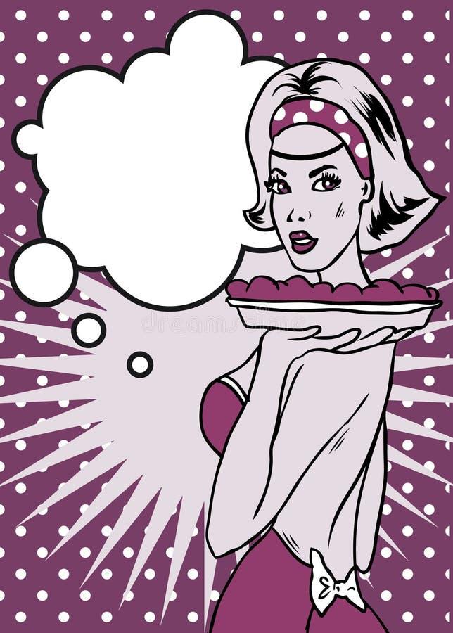 Κυρία με το αναδρομικό ύφος Popart πιτών ελεύθερη απεικόνιση δικαιώματος