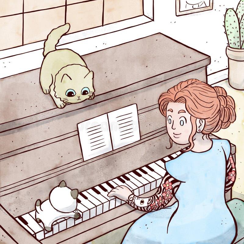 Κυρία με το πιάνο παιχνιδιού δερματοστιξιών με το γατάκι της απεικόνιση αποθεμάτων
