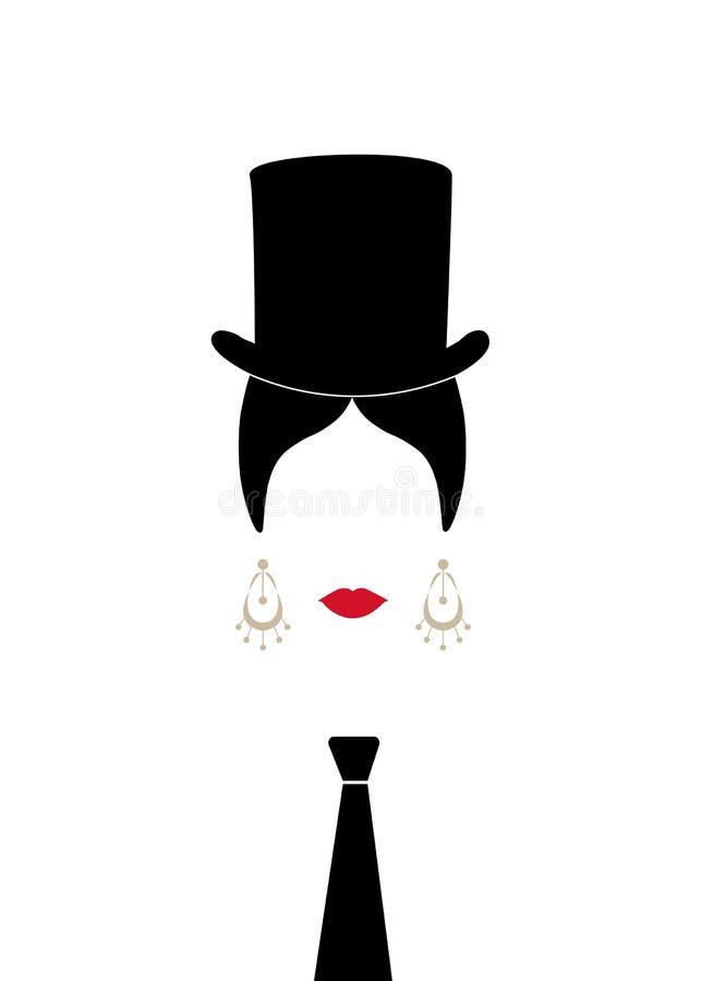 Κυρία με το τοπ καπέλο, το πορτρέτο του κοριτσιού με το δεσμό, τη σύγχρονη λατινική ή ισπανική γυναίκα έκδοση, εικονίδιο που απομ διανυσματική απεικόνιση