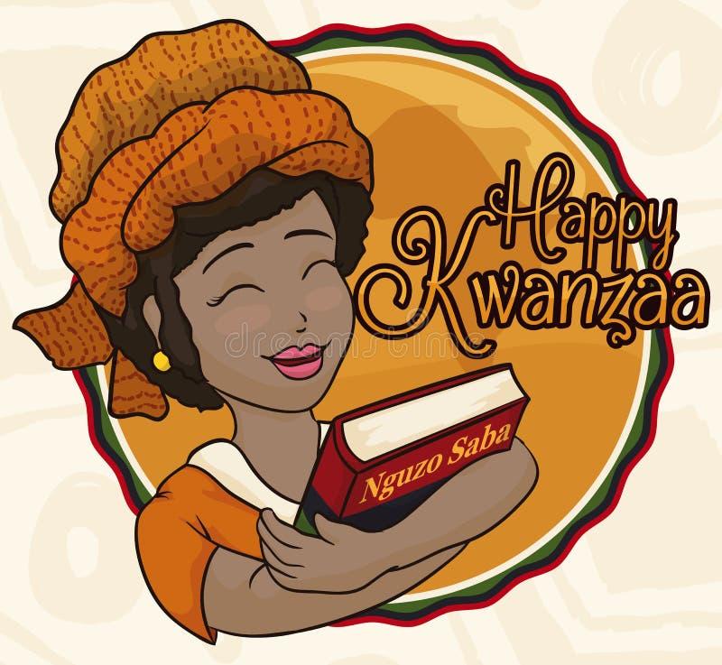 Κυρία ομορφιάς με το τουρμπάνι και βιβλίο που γιορτάζει Kwanzaa, διανυσματική απεικόνιση διανυσματική απεικόνιση