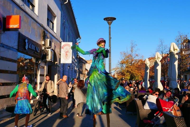Κυρία περιπατητών ξυλοποδάρων στην οδό στοκ εικόνα με δικαίωμα ελεύθερης χρήσης