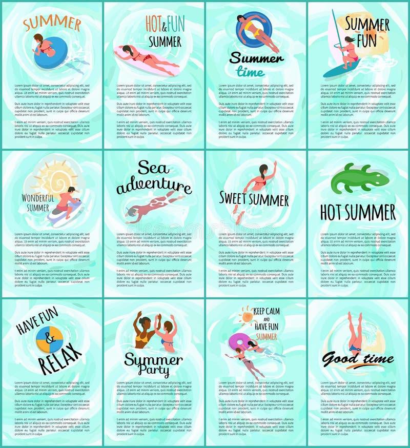 Κυρία περιπετειών θάλασσας σε Lifebuoy, αφίσα με το κείμενο απεικόνιση αποθεμάτων
