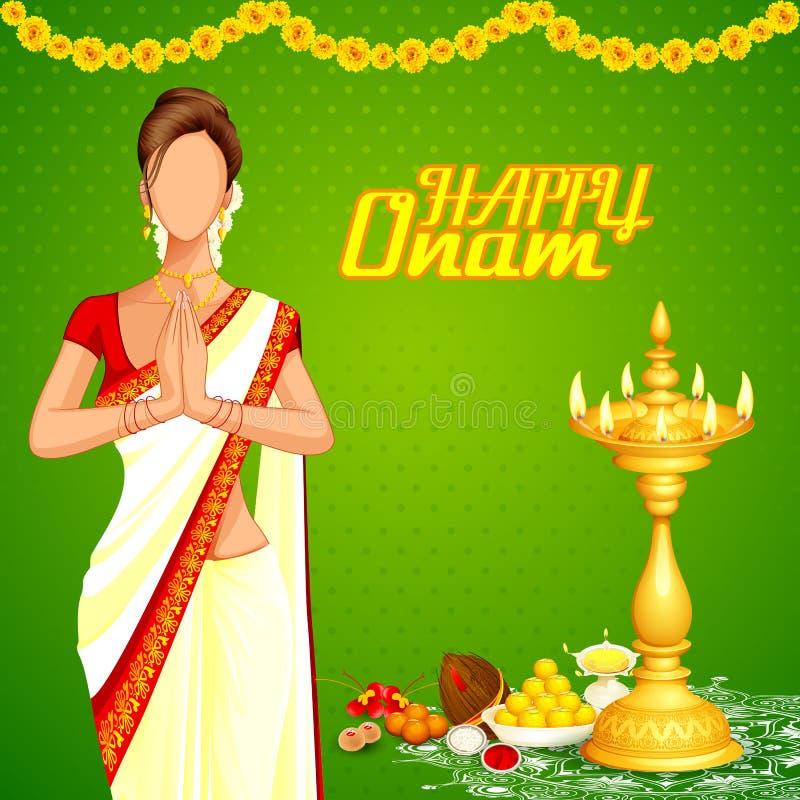 Κυρία που επιθυμεί ευτυχές Onam απεικόνιση αποθεμάτων