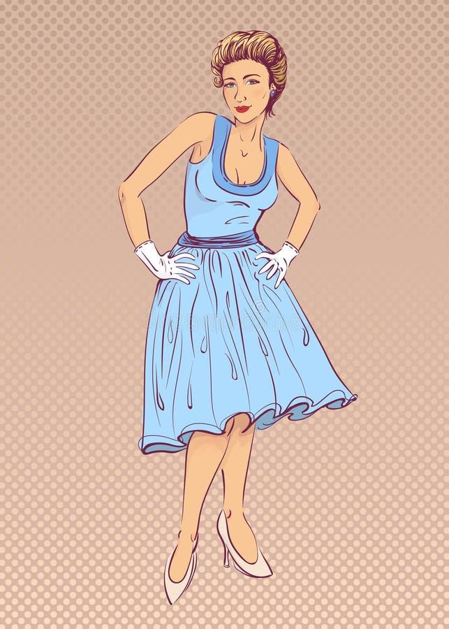 Κυρία στο μπλε φόρεμα στο αναδρομικό ύφος ελεύθερη απεικόνιση δικαιώματος