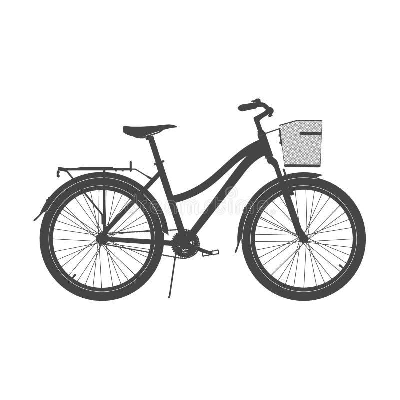 Κυρία City Bike Silhouette Διανυσματική απεικόνιση ποδηλάτων άνεσης γυναικών ` s διανυσματική απεικόνιση