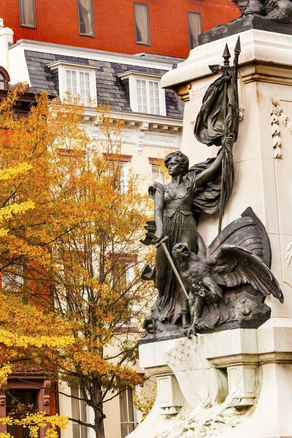 Κυρία Liberty General Rochambeau Statue Washington DC στοκ εικόνες