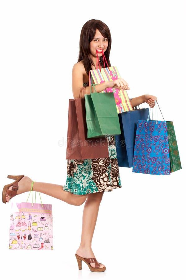 κυρία shopaholic στοκ φωτογραφία με δικαίωμα ελεύθερης χρήσης