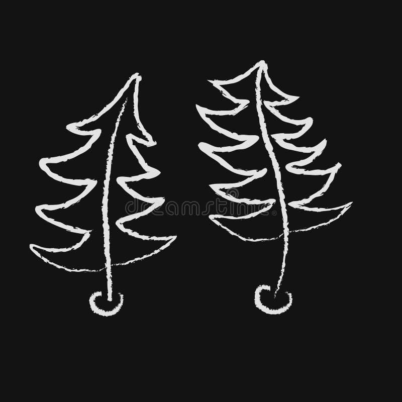 Κυρτά δύο χορεύοντας χριστουγεννιάτικα δέντρα που επισύρονται την προσοχή με την κιμωλία στο μαύρο πίνακα κιμωλίας επίσης corel σ απεικόνιση αποθεμάτων