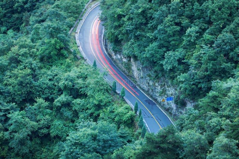Κυρτή οδική γούρνα η δασική εναέρια άποψη στοκ εικόνες με δικαίωμα ελεύθερης χρήσης