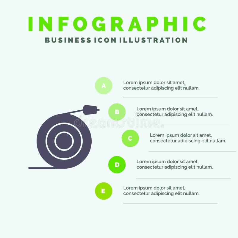 Κυρτός, ροή, σωλήνας, στερεό εικονίδιο Infographics 5 νερού υπόβαθρο παρουσίασης βημάτων διανυσματική απεικόνιση