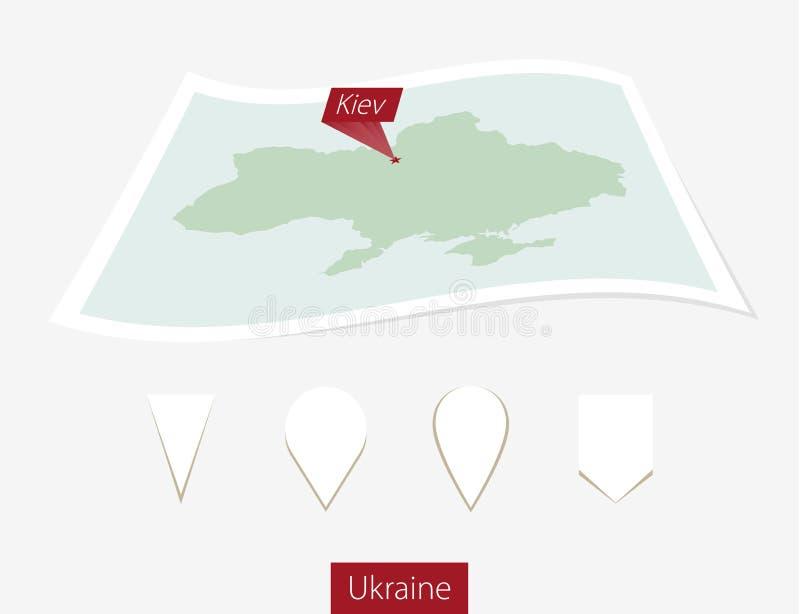 Κυρτός χάρτης εγγράφου της Ουκρανίας με το κύριο Κίεβο στο γκρίζο υπόβαθρο ελεύθερη απεικόνιση δικαιώματος