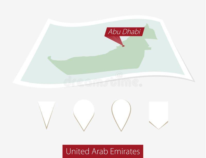 Κυρτός χάρτης εγγράφου των Ηνωμένων Αραβικών Εμιράτων με το κύριο Αμπού Ντάμπι απεικόνιση αποθεμάτων