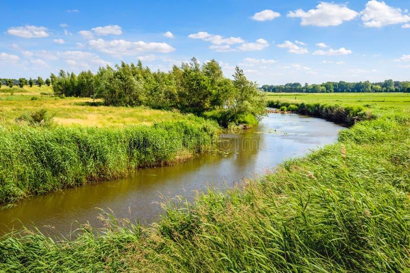 Κυρτό ρεύμα σε ένα αγροτικό τοπίο στο θερινή περίοδο στοκ εικόνα με δικαίωμα ελεύθερης χρήσης