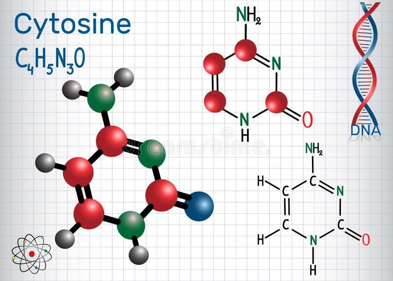Κυτοσίνη Γ - pyrimidine nucleobase, θεμελιώδης μονάδα απεικόνιση αποθεμάτων