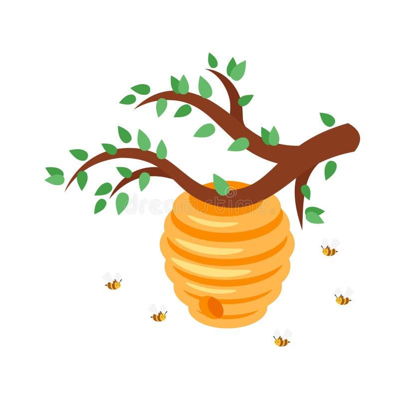 Κυψέλη μελισσών με τις πετώντας μέλισσες διανυσματική απεικόνιση