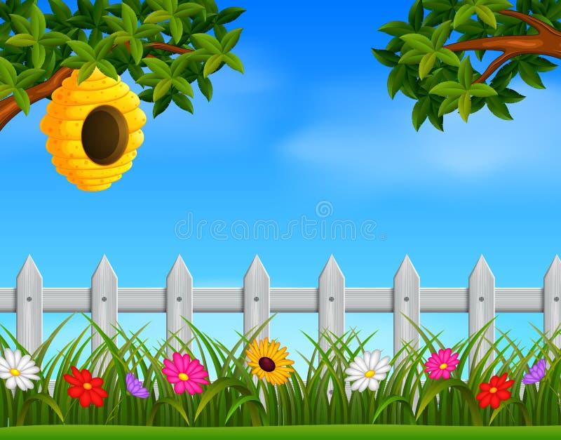 Κυψέλη στον κήπο διανυσματική απεικόνιση