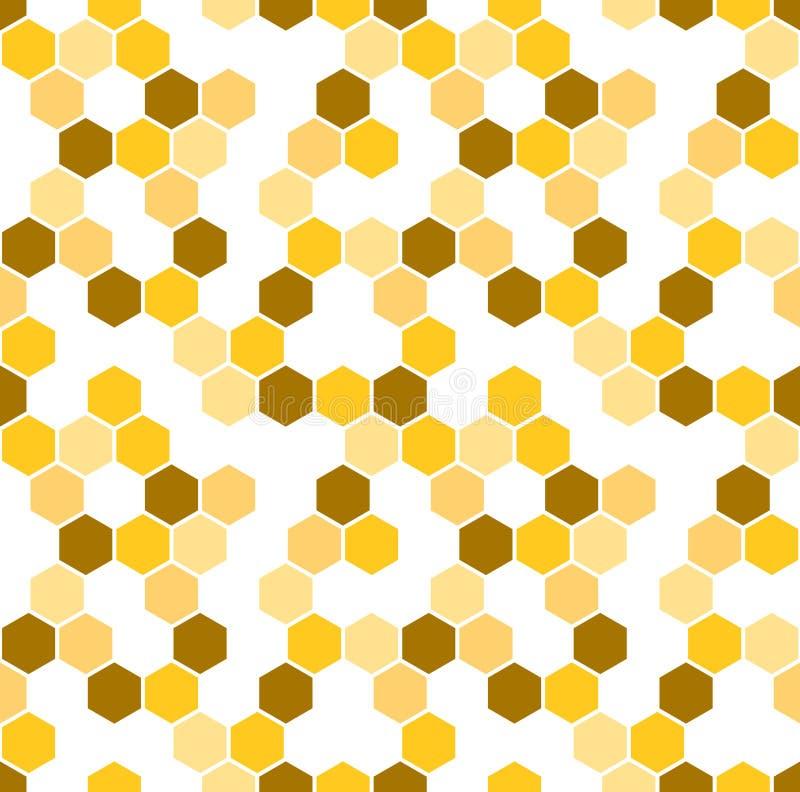 Κυψελωτό διανυσματικό υπόβαθρο Άνευ ραφής σχέδιο με χρωματισμένα hexagons Γεωμετρική σύσταση, διακόσμηση καφετής, άσπρος και ελεύθερη απεικόνιση δικαιώματος