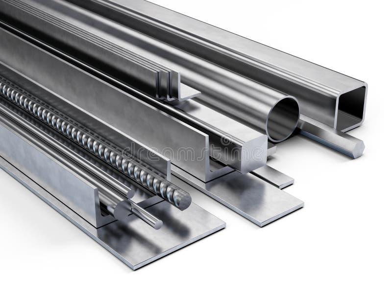 Κυλημένο μέταλλο, κατάταξη της διαφορετικής μορφής από το μέταλλο που απομονώνεται στο λευκό ελεύθερη απεικόνιση δικαιώματος