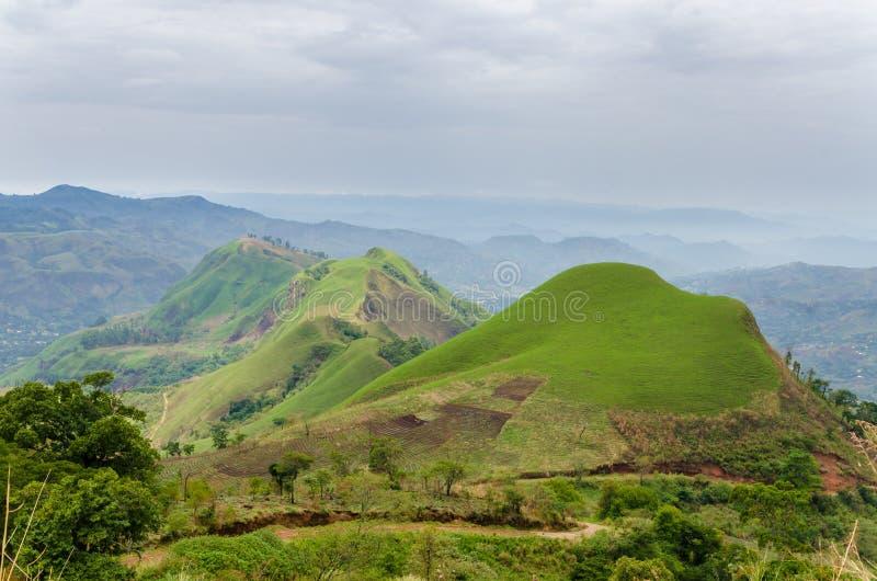 Κυλώντας εύφοροι λόφοι με τους τομείς και συγκομιδές στην περιφερειακή οδό του Καμερούν, Αφρική στοκ φωτογραφία με δικαίωμα ελεύθερης χρήσης