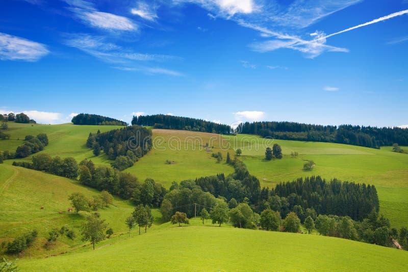 Κυλώντας πράσινοι λόφοι της Γερμανίας με το μπλε ουρανό στοκ εικόνες