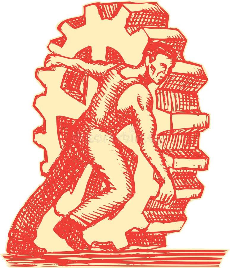 Κυλώντας ρόδα χαρακτική βαραίνω βιομηχανικών εργατών ελεύθερη απεικόνιση δικαιώματος