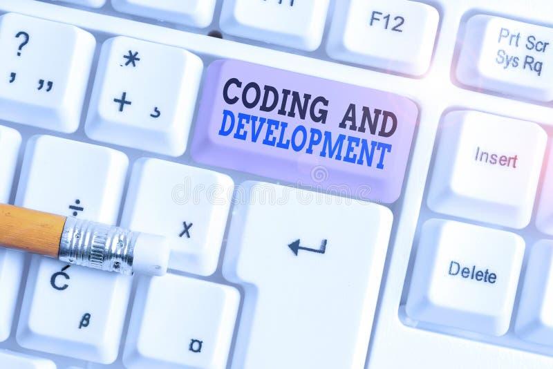 Κωδικοποίηση Και Ανάπτυξη Κειμένου Γραφής Λέξεων Επιχειρηματική ιδέα για προγραμματισμό Δημιουργία απλής συγκρότησης Προγράμματα  στοκ φωτογραφίες