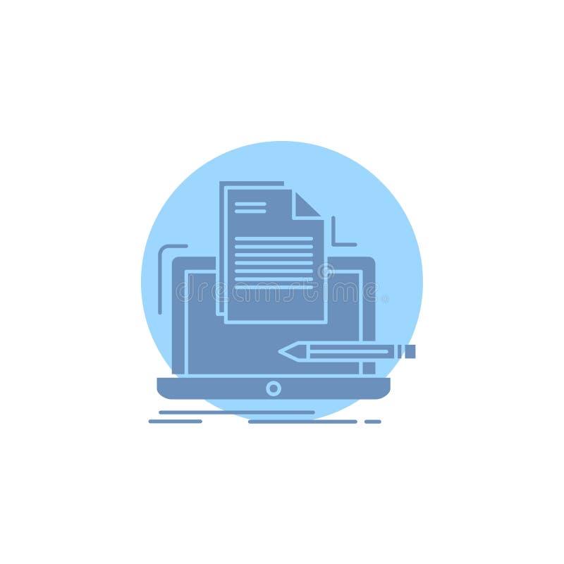 Κωδικοποιητής, κωδικοποίηση, υπολογιστής, κατάλογος, εικονίδιο Glyph εγγράφου απεικόνιση αποθεμάτων