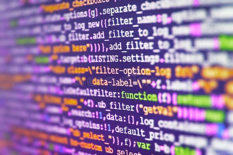 Κωδικός πηγής λογισμικού Κινηματογράφηση σε πρώτο πλάνο οργάνων ελέγχου του κωδικού πηγής λειτουργίας Αφηρημένη οθόνη του λογισμι στοκ φωτογραφίες