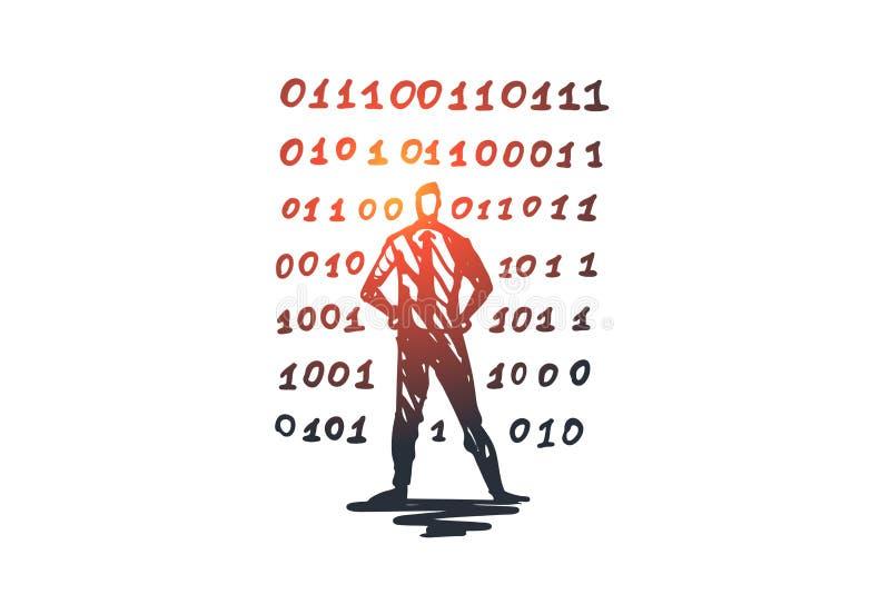 Κωδικός πηγής, λογισμικό, πρόγραμμα, ανάπτυξη, έννοια υπολογιστών Συρμένο χέρι απομονωμένο διάνυσμα διανυσματική απεικόνιση