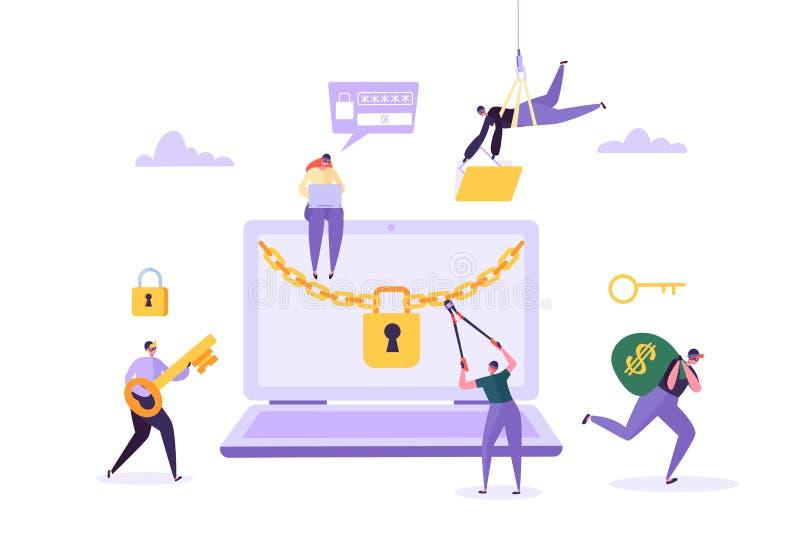 Κωδικός πρόσβασης και χρήματα χάκερ Stealing από το lap-top Χαρακτήρες κλεφτών που χαράσσουν τον υπολογιστή Επίθεση αλιείας, οικο απεικόνιση αποθεμάτων