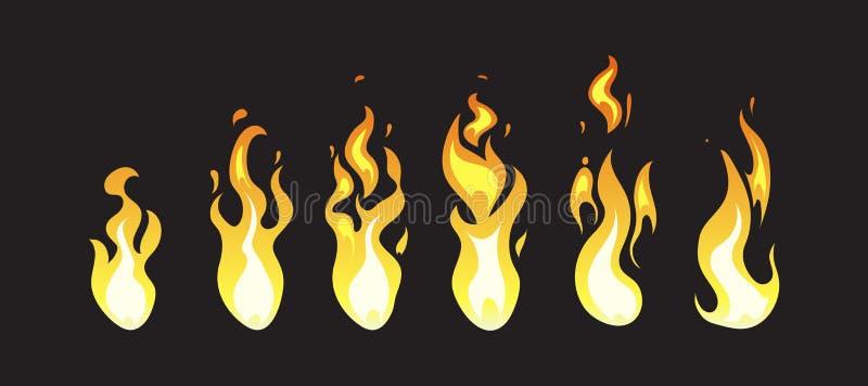 Κωμικά διανυσματικά πλαίσια ζωτικότητας πυρκαγιάς κινούμενων σχεδίων για το παιχνίδι στον υπολογιστή απεικόνιση αποθεμάτων