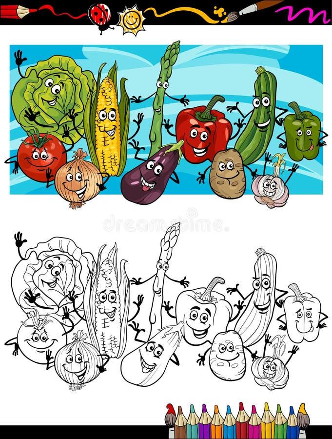 Κωμικά κινούμενα σχέδια λαχανικών για το χρωματισμό του βιβλίου διανυσματική απεικόνιση