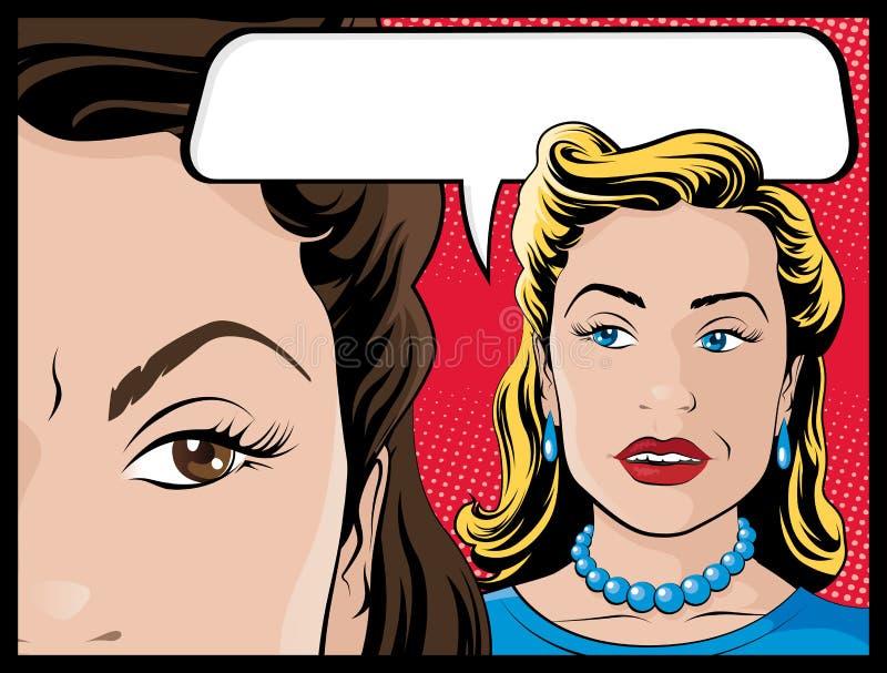 Κωμικές κουτσομπολεύοντας γυναίκες ύφους διανυσματική απεικόνιση