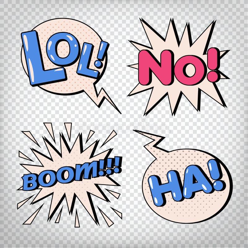 Κωμικές φυσαλίδες με τις εκφράσεις Λαϊκές φυσαλίδες τέχνης διανυσματική απεικόνιση