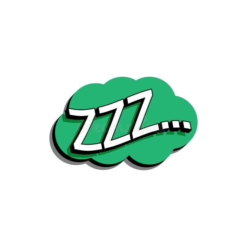 Κωμική λεκτική φυσαλίδα με το κείμενο έκφρασης zzz Διανυσματική φωτεινή δυναμική απεικόνιση κινούμενων σχεδίων στο αναδρομικό λαϊ απεικόνιση αποθεμάτων