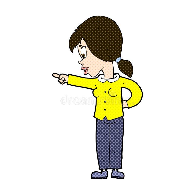 κωμική υπόδειξη γυναικών κινούμενων σχεδίων ενθουσιώδης διανυσματική απεικόνιση