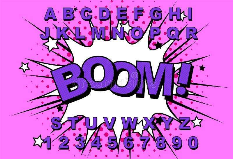 Κωμικός αναδρομικός αλφάβητου διανυσματική απεικόνιση