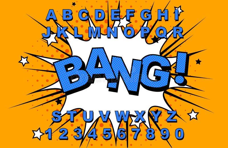 Κωμικός αναδρομικός αλφάβητου απεικόνιση αποθεμάτων
