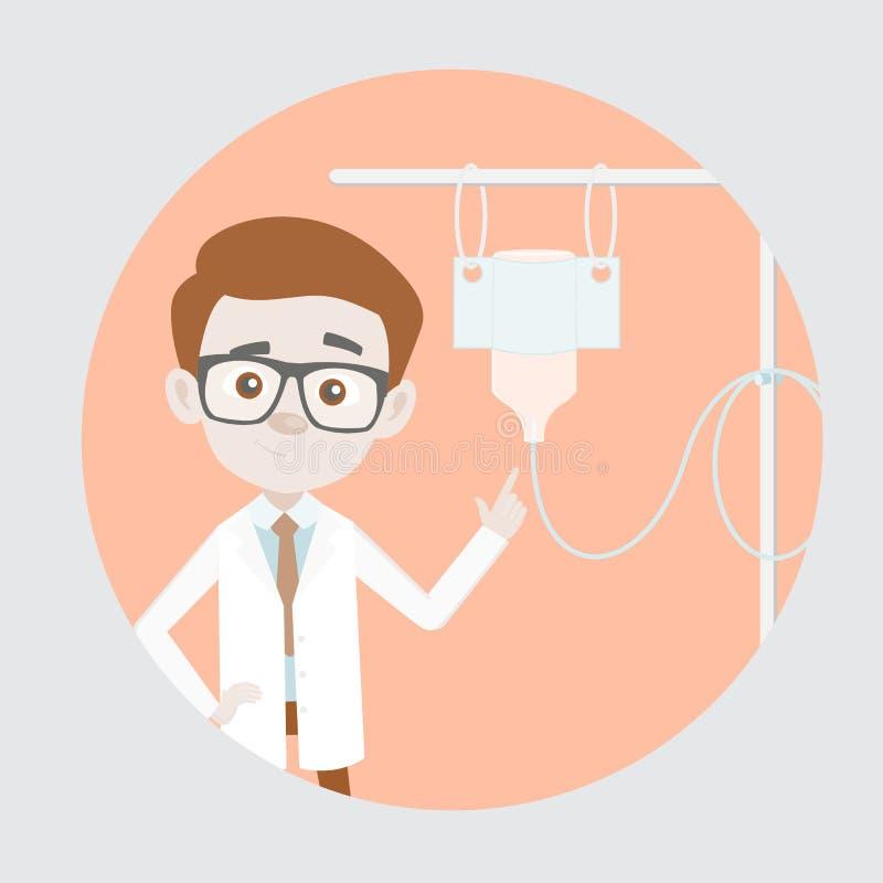 Κωμικός δικανικός παθολόγος που παρουσιάζει IV ρευστή ενδοφλέβια αλατούχο σταλαγματιά πτώσης διανυσματική απεικόνιση