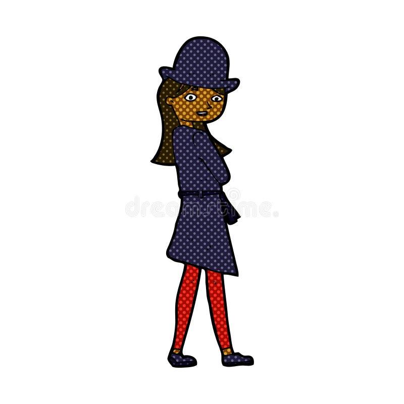 κωμικός θηλυκός κατάσκοπος κινούμενων σχεδίων ελεύθερη απεικόνιση δικαιώματος