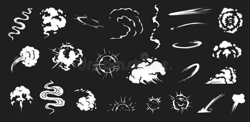 Κωμικός καπνός Ο καπνός ξεφυσά vfx, επίδραση ενεργειακής έκρηξης και διανυσματικό σύνολο απεικόνισης φυσήματος κινούμενων σχεδίων ελεύθερη απεικόνιση δικαιώματος