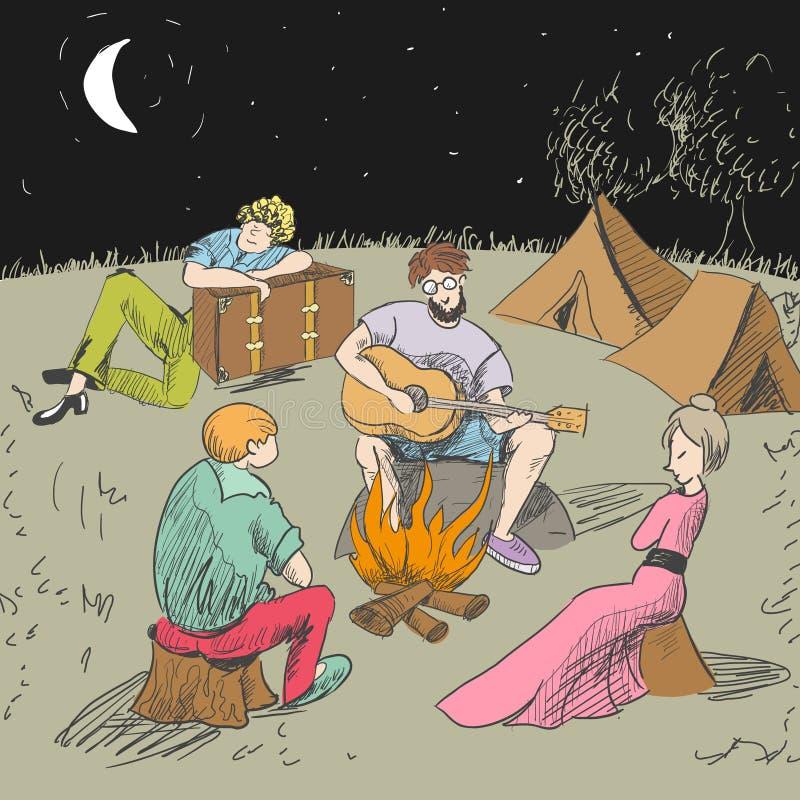 κωμικός Κουρασμένοι ταξιδιώτες σε μια νύχτα του υπολοίπου απεικόνιση αποθεμάτων